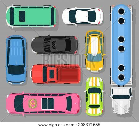City car vehicle transport top view car automobile transport transportation design auto vector illustration.. Traffic roof motor vehicle freight graphic.
