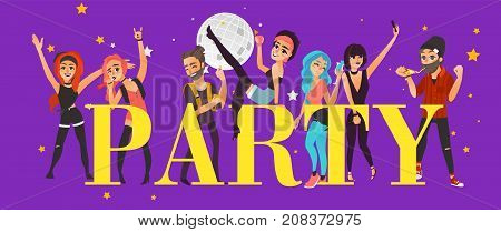 Party banner, poster with friends having fun in club, at disco, flat cartoon vector illustration isolated on purple background. Young people, boys and girls, having fan and party word in big letters