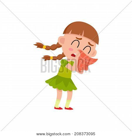 vector flat cartoon girl kid in green dress blows her nose with red handkerchief crying. isolated illustration on a white background. Daily routine concept