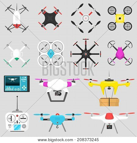Vehicle drone quadcopter Vector illustration air hovering tool remote control fly camera.. Air drone hovering wireless tool. Remote control fly camera.