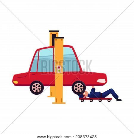vector flat cartoon funny young man, boy mechanic in blue uniform repairing lifted sedan car lying under it. Male full lenght portrait caucasian character isolated, illustration on a white background
