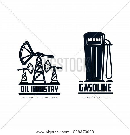 vector oil fuel pump, derrick and gasoline fueling station simple flat icon pictogram set isolated on a white background. Gas oil fuel, energy power industry symbol, sign
