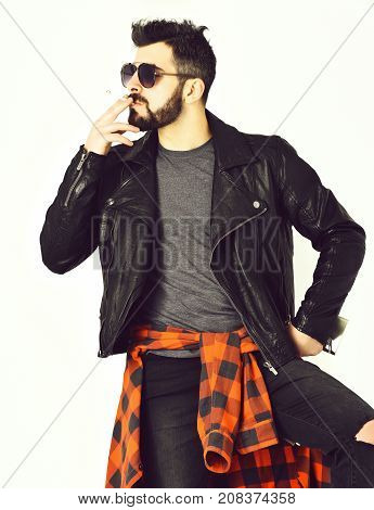 Bearded Man, Caucasian Hipster With Moustache Smoking Cigarette