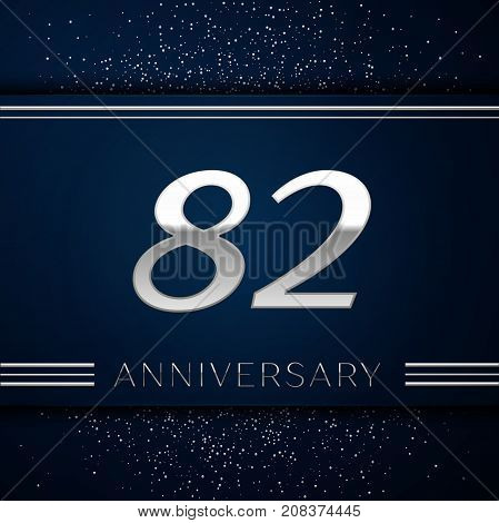 Realistic Eighty two Years Anniversary Celebration Logotype. Silver numbers and silver confetti on blue background. Colorful Vector template elements for your birthday party