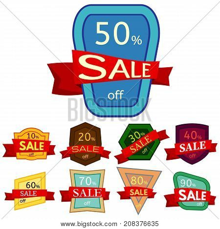 Set of different nine discount stickers. Colorful badges with red ribbon for sale 10 - 90 percent off. Vector illustration.