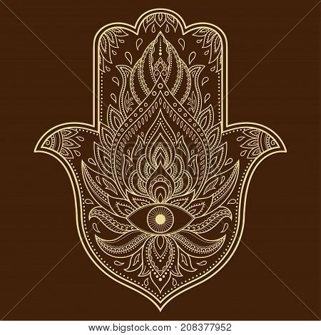 Vector Hamsa Hand Drawn Symbol. Decorative Pattern In Oriental Style For The Interior Decoration And