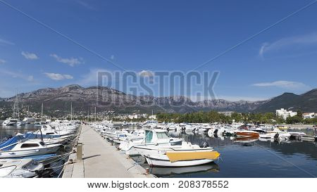 Bar - September 30 2017: Many yachts and boats in the port city Bar and mountains away September 30 2017 Bar Montenegro