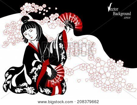 A Japanese woman in a black kimono plays on shamisen in blossoming cherry twigs. EPS10 vector illustration.