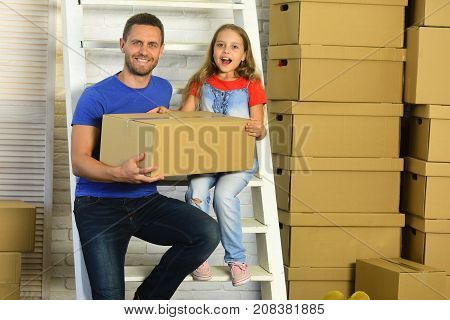 Girl And Man With Smiling And Surprised Faces With Ladder