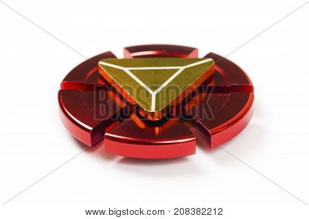 Red Fidget Spinner isolated on white background