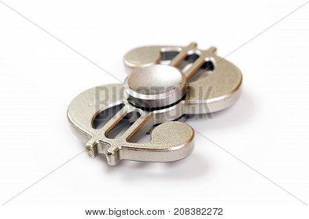 Silver Fidget Spinner isolated on white background