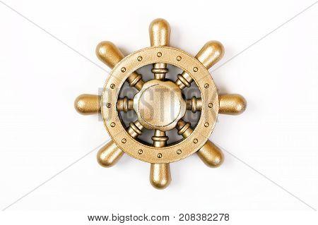 Gold Fidget Spinner isolated on white background