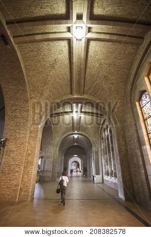 BRUSSELS BELGIUM - JUNE 19 2016: Wide vertical picture of a corridor on the 2nd floor of the Basilica of the Sacred Heart in Koekelberg. Brussels Belgium.