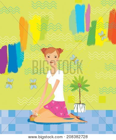 A girl with a jar of honey and a spoon in her hands sits on the floor against a bright colorful wall with flying bees. Positive. Joy. happiness. Computer raster illustration.