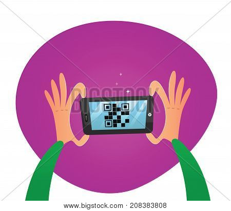 Hands holding mobile phone. Scan QR code to mobile phone. Vector illustration.