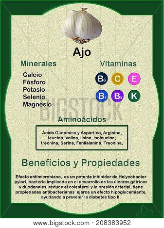 Data sheet on the nutritional composition (vitamins minerals and amino acids) of garlic and their health veneers in spanish