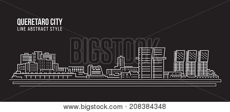 Cityscape Building Line art Vector Illustration design - Queretaro city