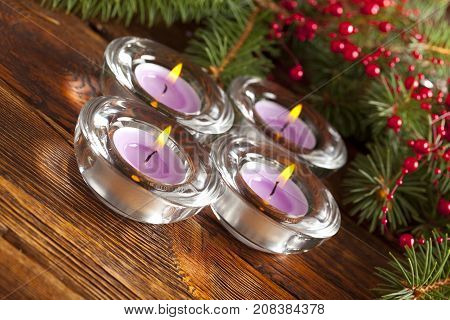Christmas Lights - Candles And Branch Of Spruce Tree