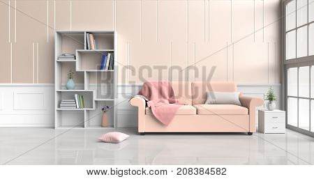 White-orange room decorated with orange sofa, tree in glass vase, pillows, Bookcase, Red blanket, Window, Orange -white cement wall it is pattern, white cement floor. 3d rendering.