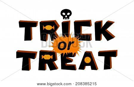 Trick or treat lettering. Vector illustration isolated on white background