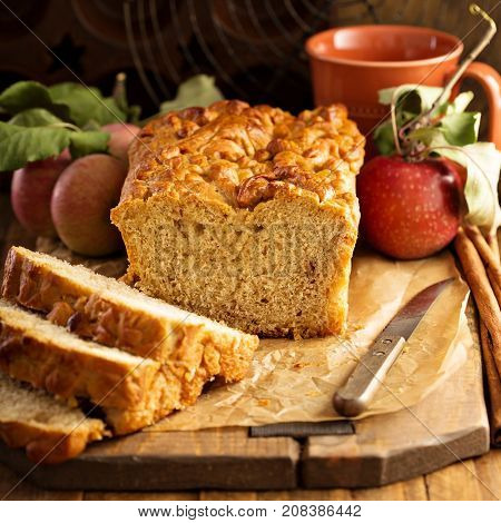 Apple bread rustic style with freshy picked apples and cinnamon, fall baking concept