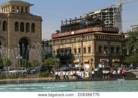 YEREVAN,ARMENIA - SEPTEMBER 20,2017:Excursion of schoolchildren from different regions of the republic on the historical center of the city of Yerevan.