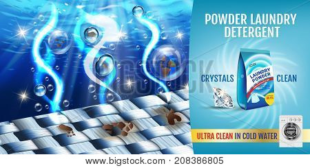 Vector realistic Illustration with fiber structure is washed in water and product package. Horizontal banner
