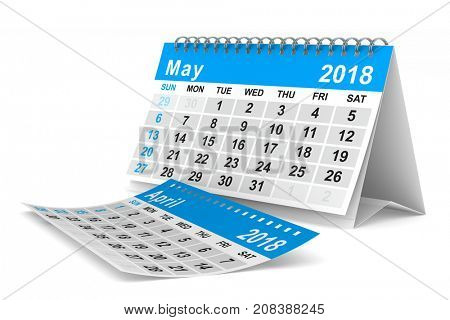 2018 year calendar. May. Isolated 3D illustration