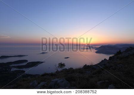 Sunset over the Adriatic Sea Croatia in summer.