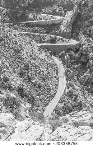 Winding mountain road in Sa Calobra, Majorca
