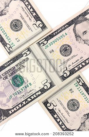 five dollars. close-up . Photos in the studio
