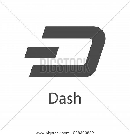 Dash icon for internet money. Crypto currency symbol for using in web projects or mobile applications. Blockchain based secure cryptocurrency. Isolated vector sign.