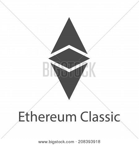 Ethereum Classic icon for internet money. Crypto currency symbol for using in web projects or mobile applications. Blockchain based secure cryptocurrency. Isolated vector sign.