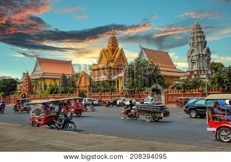 PHNOM PENH CAMBODIA - MARCH 17 2015 : Wat Ounalom in Phnom Penh headquarter of Cambodian Buddhism