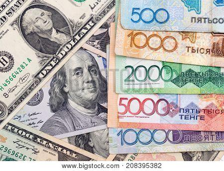American dollars and Kazakhstan tenge . Photos in the studio