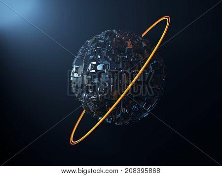 artificial metal planet, 3d illustration