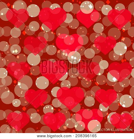 Hearts pattern for Valentine Day greeting card design. Romantic illustration for valentines day . Vector illustration.