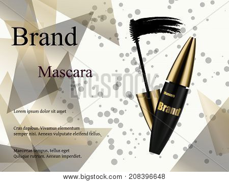 Luxury mascara ads, black and golden package with streamline background illustration vector design.