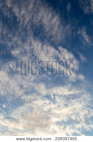 beautiful clouds against blue sky . In the park in nature
