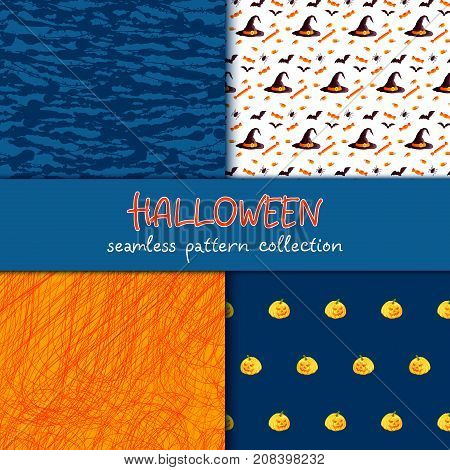 Festive seamless pattern collection. Set of vector Halloween illustration. Blots and scribble textures, holiday symbols and characters jack o lantern, witch hat, bat, spider, corn candy. Usable for design, packaging, wallpaper, textile, card