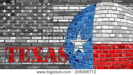 Texas flag on the grey USA flag background - Illustration,  Ball with Texas flag