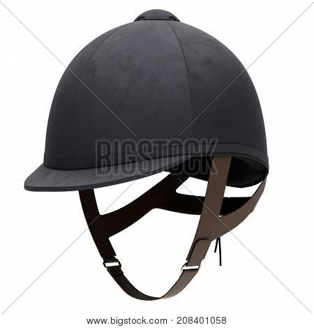 Classic Jockey helmet for horseriding athlete. Perspective view. Velvet material. 3D render Illustration isolated on a white background.