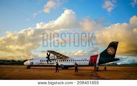 Domestic Aircraft Docking At Yangon Airport
