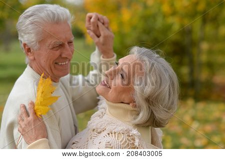 portrait of beautiful caucasian senior couple with leaves  in the park dancing