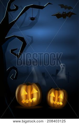 Halloween landscape with pumkins and cemetery. Vector illustration. Hight. Background for postcard. Cartoon