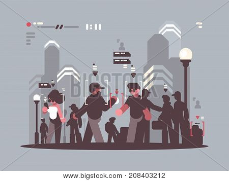 Spy system tracking people in crowd. Observation and analysis. Vector illustration