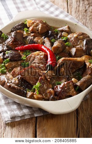 Stew Beef With Wild Forest Mushrooms And Chili Close-up. Vertical