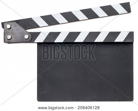 blank movie clapboard isolated on white with a copy space