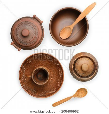 Brown pottery (pot, plate, cup) isolated on white background with clipping path. Top view