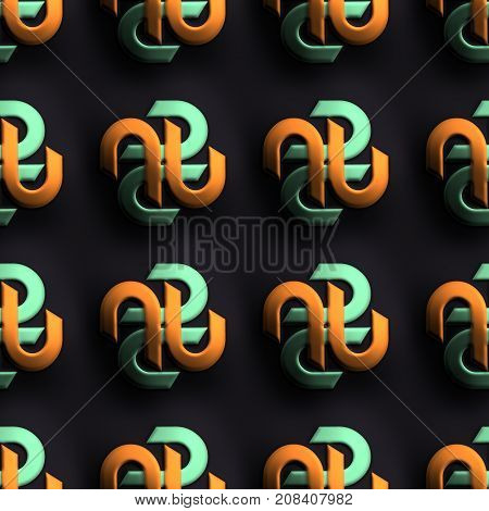 3D render of plastic background tile with embossed abstract S like ornament